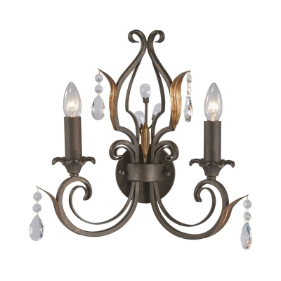 Candle Dining Room Sconce Light With Clea Crystal Iron 2 Lights With Regard To Clea 3 Light Crystal Chandeliers (Image 7 of 20)