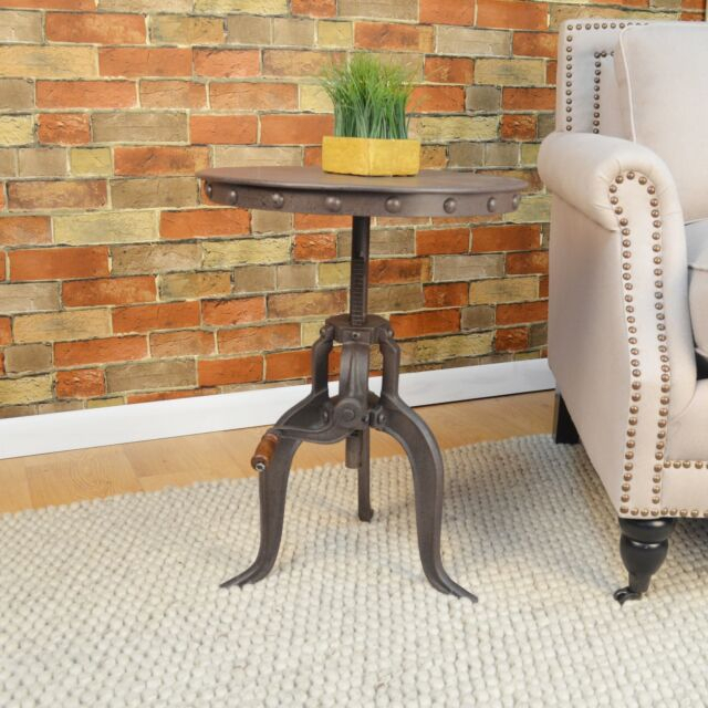 Carbon Loft Baird Cast Iron/metal Adjustable Crank Accent Table Sofa Coffee Il For Carbon Loft Enjolras Wood Steel Coffee Tables (View 21 of 25)