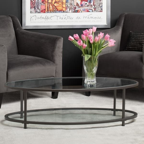 Carbon Loft Heimlich 48 Inch Oval Coffee Table | Living Room In Carbon Loft Heimlich Metal Glass Rectangle Coffee Tables (View 12 of 25)