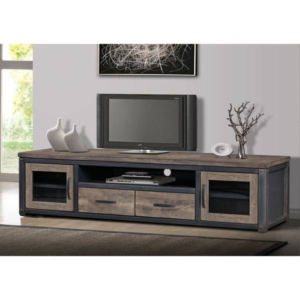 Carbon Loft Heritage Rustic Entertainment Center | Home Regarding Carbon Loft Lawrence Reclaimed Cube Coffee Tables (Image 9 of 50)