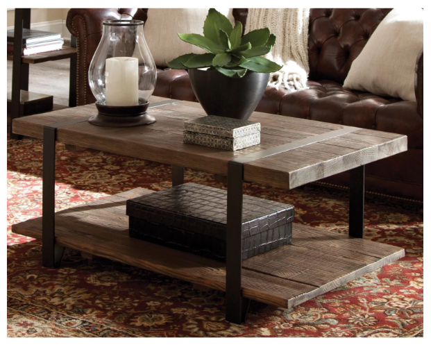 Carbon Loft Kenyon Natural Rustic Coffee Table Reclaimed Aged Brown Wood Metal For Carbon Loft Oliver Modern Rustic Natural Fir Coffee Tables (View 12 of 25)