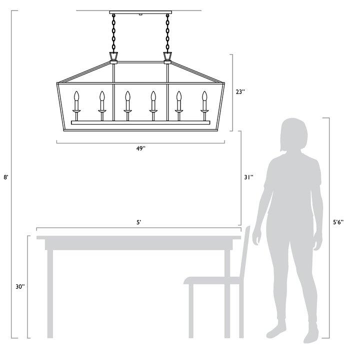 Carmen 6 Light Kitchen Island Linear Pendant In Carmen 6 Light Kitchen Island Linear Pendants (View 17 of 25)