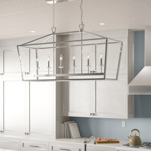 Carved Glass 6 Light Kitchen Island Pendant   Wayfair (View 10 of 25)