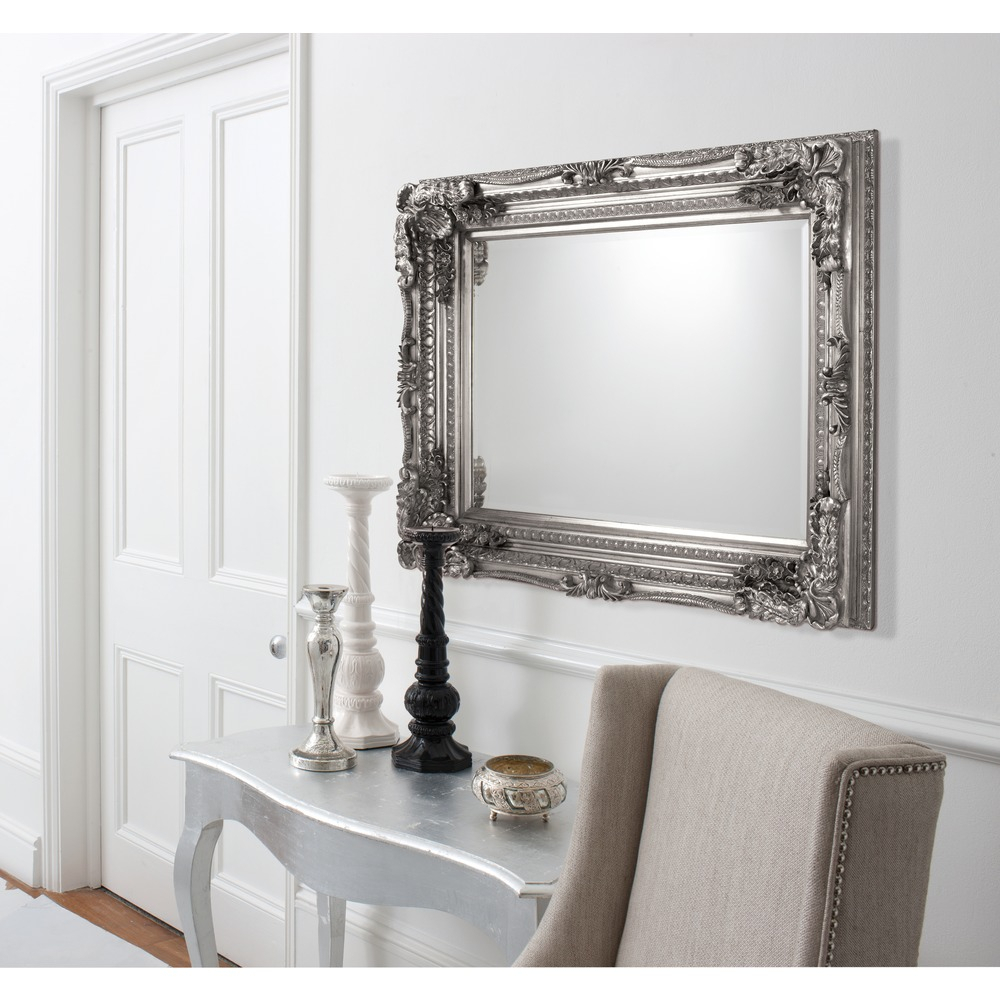 Carved Louis Rectangle Wall Mirror – Silver Leaf With Wall Mirrors (Image 5 of 20)