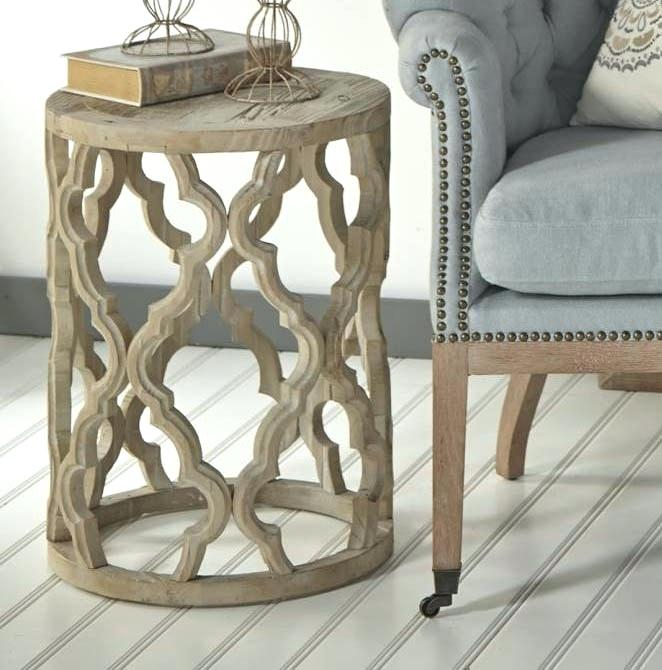 Carved Side Table Styled Quatrefoil End Lamp – Alalbany For The Curated Nomad Quatrefoil Goldtone Metal And Glass Coffee Tables (View 50 of 50)