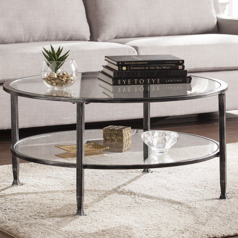 Casas Coffee Table In 2019 | Mom's Cottage | Round Glass With Carbon Loft Heimlich Pewter Steel/glass Round Coffee Tables (View 14 of 25)