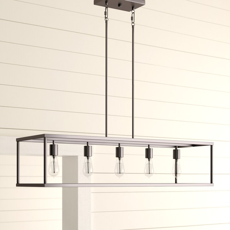 Cassie 5 Light Kitchen Island Linear Pendant In Novogratz Vintage 5 Light Kitchen Island Bulb Pendants (View 12 of 25)