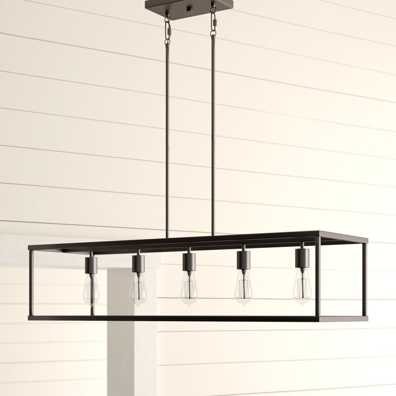 Cassie 5 Light Kitchen Island Linear Pendant Throughout Novogratz Vintage 5 Light Kitchen Island Bulb Pendants (View 7 of 25)