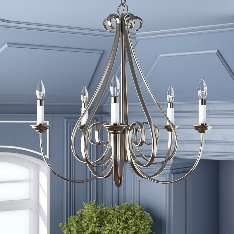 Cayman 5 Light Candle Style Chandelier In Berger 5 Light Candle Style Chandeliers (View 5 of 20)