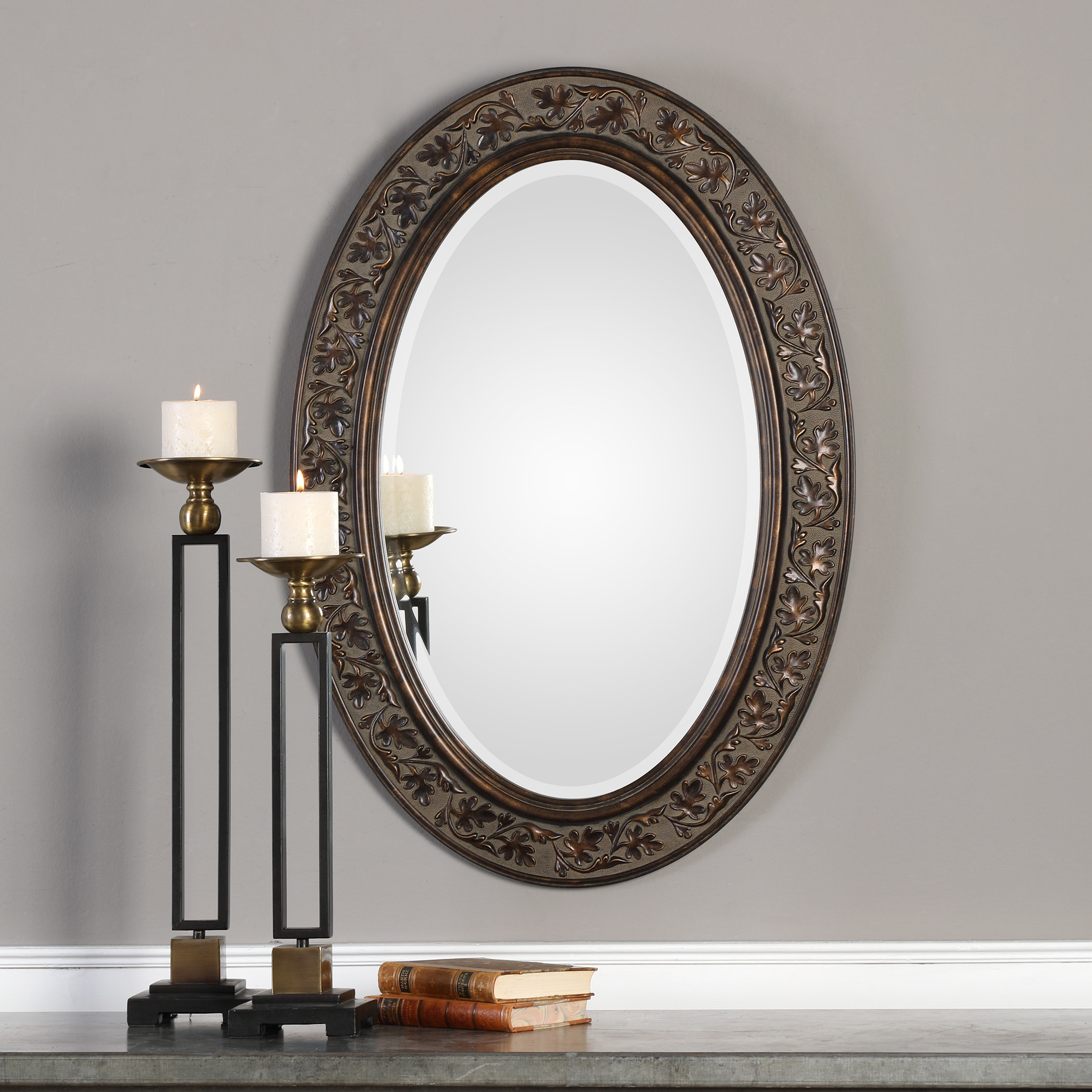 Charland Beveled Accent Mirror Intended For Burnes Oval Traditional Wall Mirrors (Image 4 of 20)