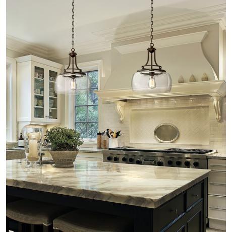 "Charleston 13 1/2"" Wide Clear Glass And Bronze Pendant Light Pertaining To Warner Robins 3 Light Lantern Pendants (Image 3 of 25)"