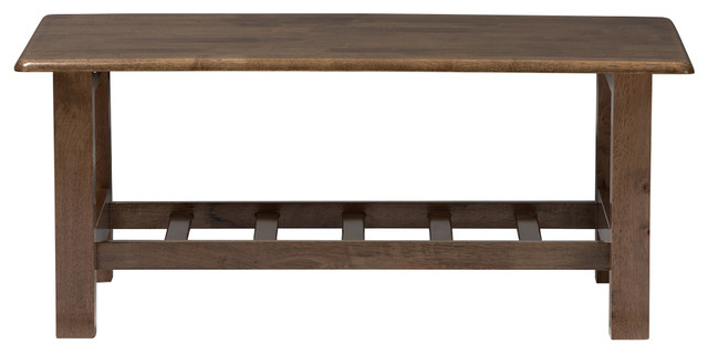 Charlotte Modern Classic Mission Style Walnut Brown Wood Coffee Table For Mission Walnut Coffee Tables (View 20 of 25)