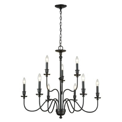Charlton Home Deberry 9 Light Candle Style Chandelier With Diaz 6 Light Candle Style Chandeliers (Image 5 of 20)