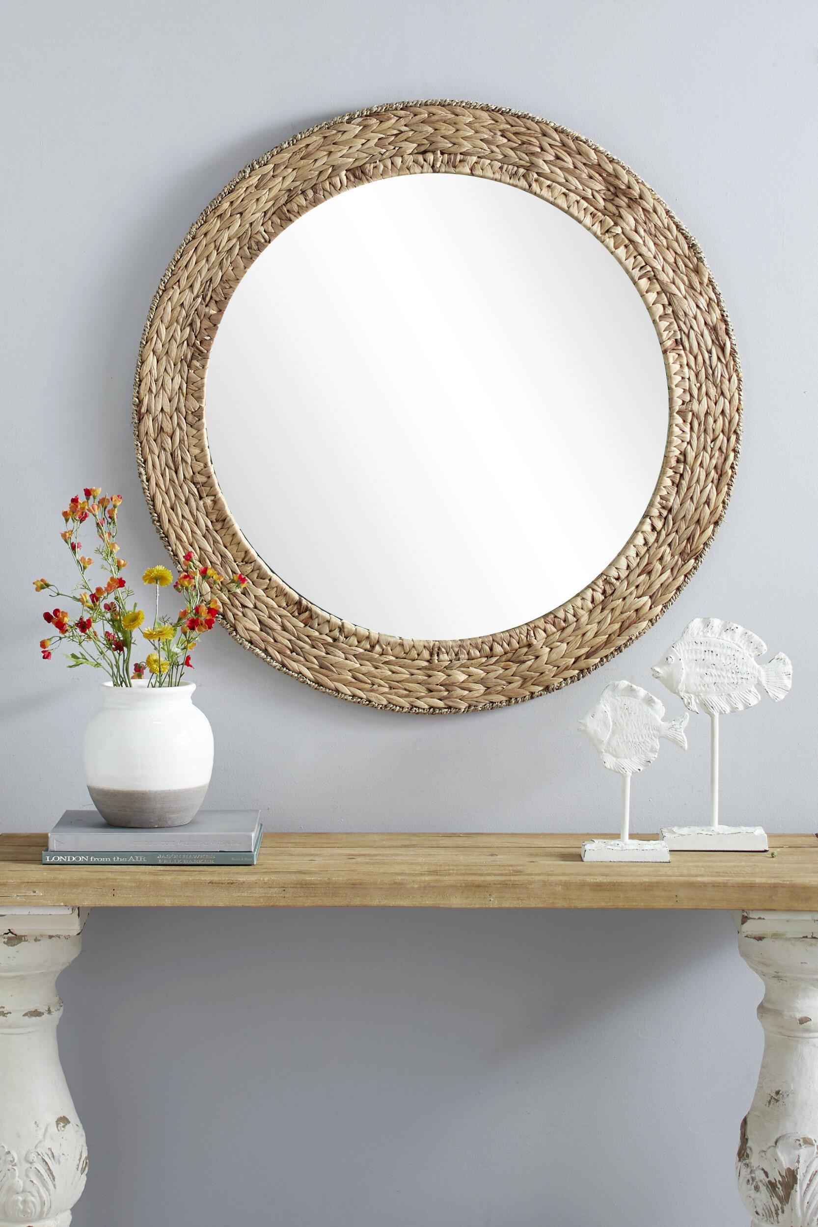 Chiara Round Handmade Wicker Rustic Accent Mirror Regarding Mcnary Accent Mirrors (View 9 of 20)