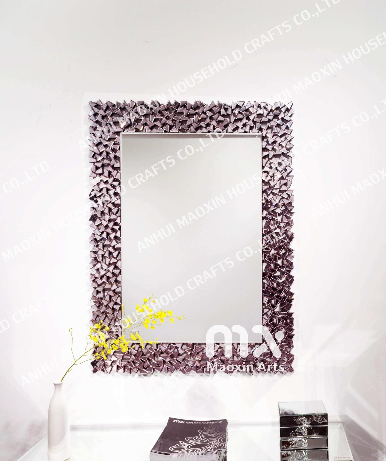 China Customized Pink Frameless Diamond Wall Mirror Throughout Traditional Frameless Diamond Wall Mirrors (Image 2 of 20)
