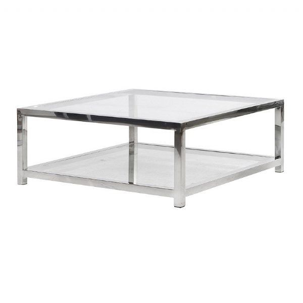 Chrome Glass Square Coffee Table | Coffee Tables | Low Inside Strick & Bolton Jules Chrome And Glass Coffee Tables (View 22 of 25)