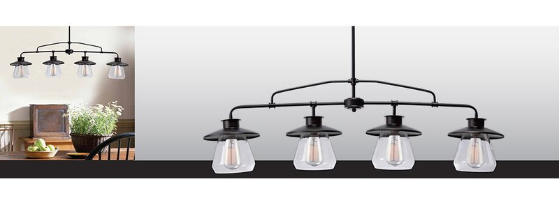 Featured Image of Cinchring 4 Light Kitchen Island Linear Pendants