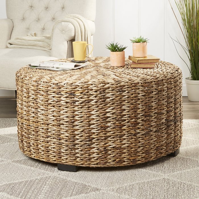 Claiborne Woven Coffee Table Within Rustic Coffee Tables With Wicker Storage Baskets (Image 3 of 25)