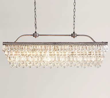 Clarissa Crystal Drop Rectangular Chandelier | Lighting In Whitten 4 Light Crystal Chandeliers (View 8 of 20)