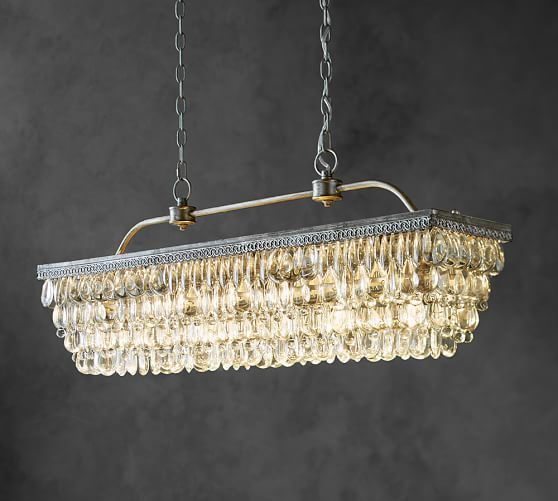 Clarissa Crystal Drop Rectangular Chandelier | Rbm Design With Regard To Whitten 4 Light Crystal Chandeliers (View 19 of 20)