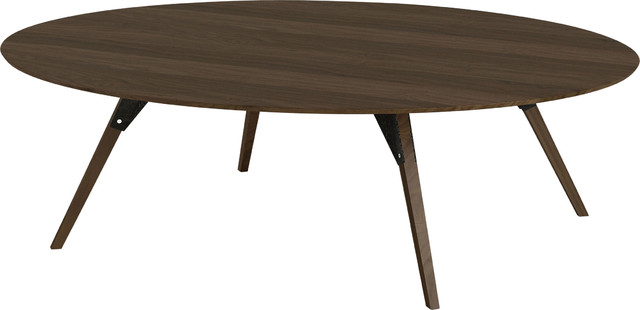 Clarke Oval Coffee Table, Black, Small, Walnut For Winslet Cherry Finish Wood Oval Coffee Tables With Casters (View 10 of 25)
