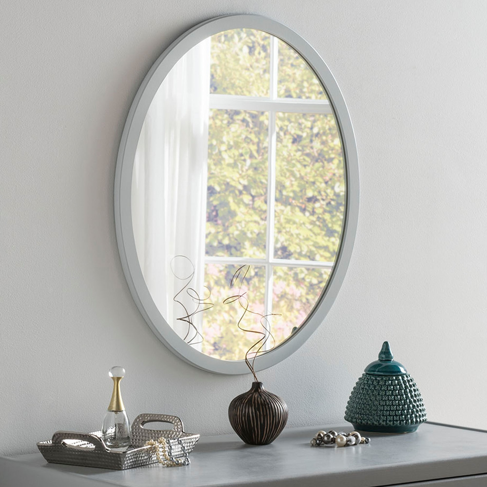 Classic Oval Light Grey Wall Mirror In Wall Mirrors (Image 6 of 20)
