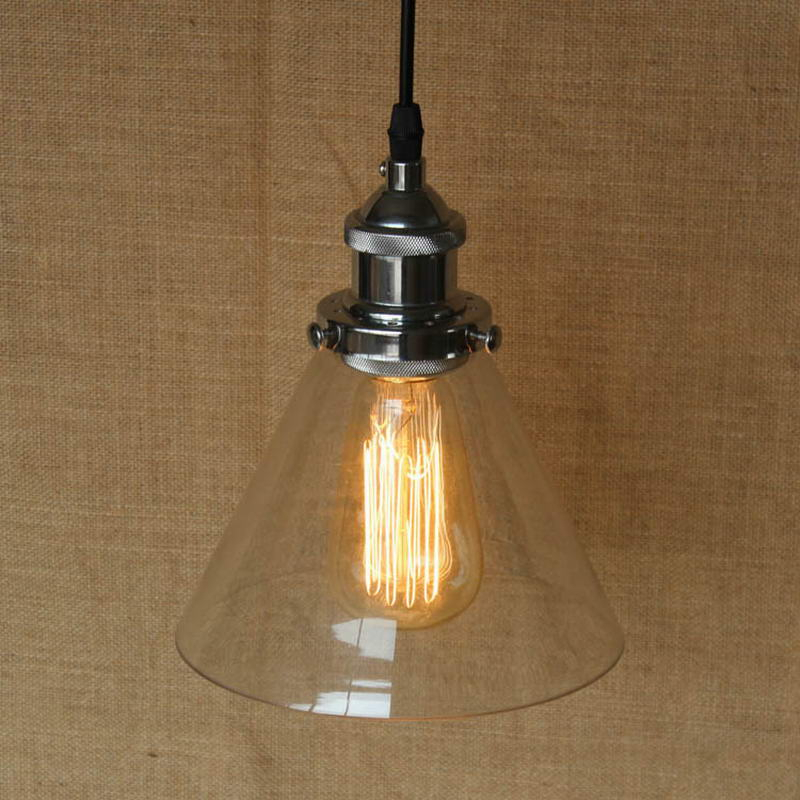 Clear Glass Cone Shade Pendant Lamp E27 Edison Light Bulb – Frisky Lighting Pertaining To Vintage Edison 1 Light Bowl Pendants (View 19 of 25)