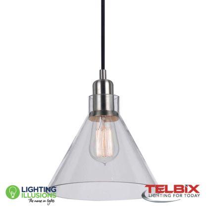 Clear Telbix Alden Single Glass Pendant Light With Regard To Alden 3 Light Single Globe Pendants (View 11 of 20)