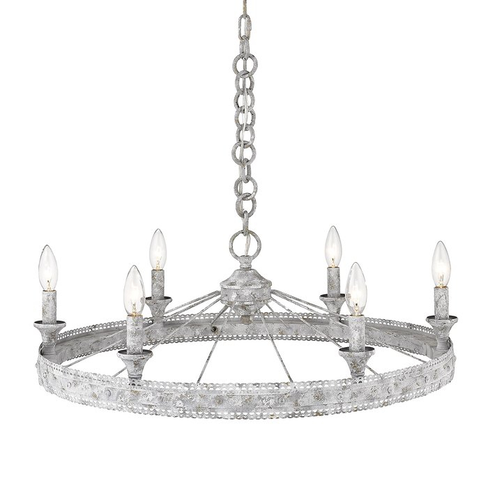Cleo 6 Light Wagon Wheel Chandelier Within Clea 3 Light Crystal Chandeliers (Image 14 of 20)
