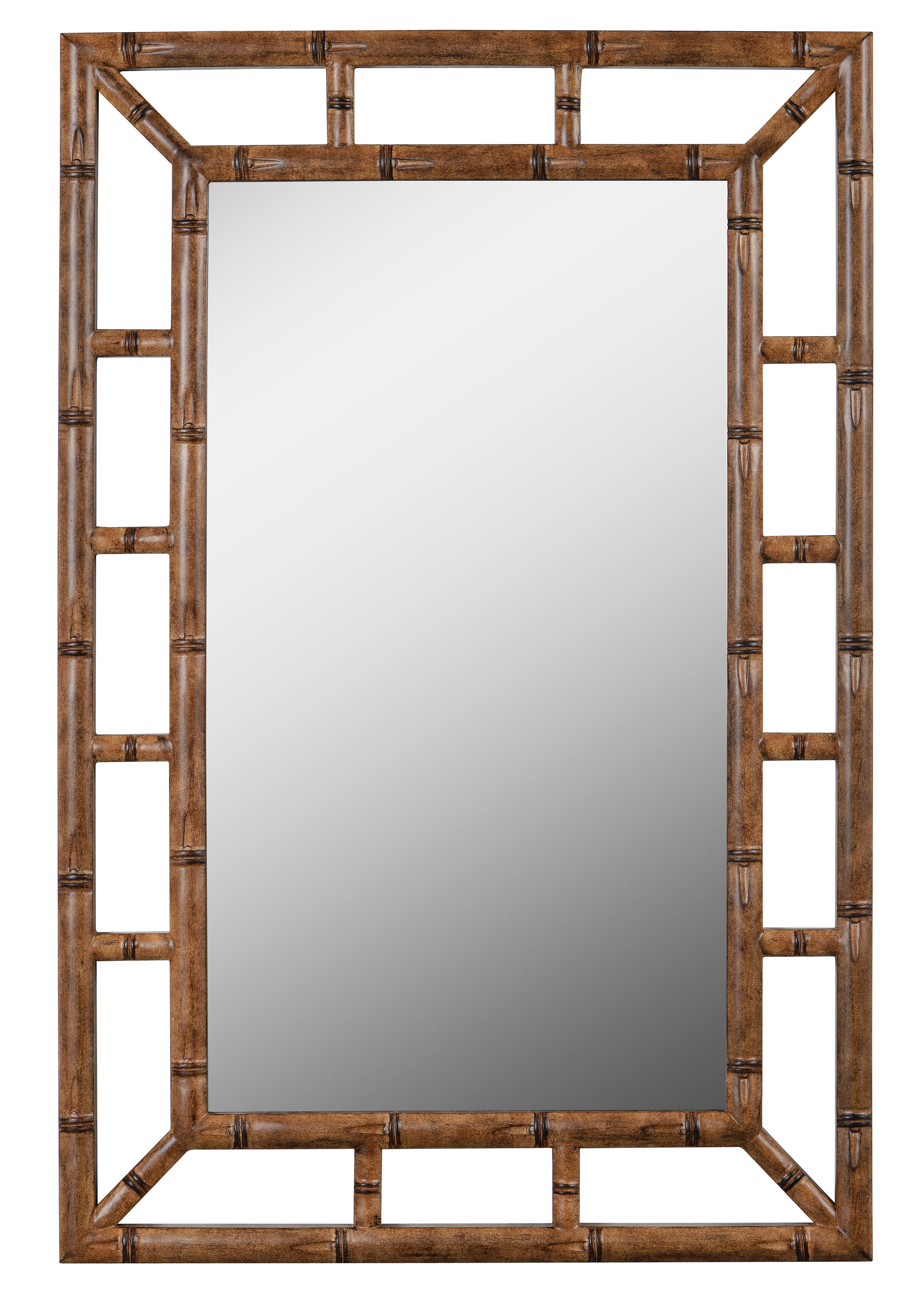 Cleta Bamboo Brown Traditional Beveled Wall Mirror In 2 Piece Priscilla Square Traditional Beveled Distressed Accent Mirror Sets (View 16 of 20)