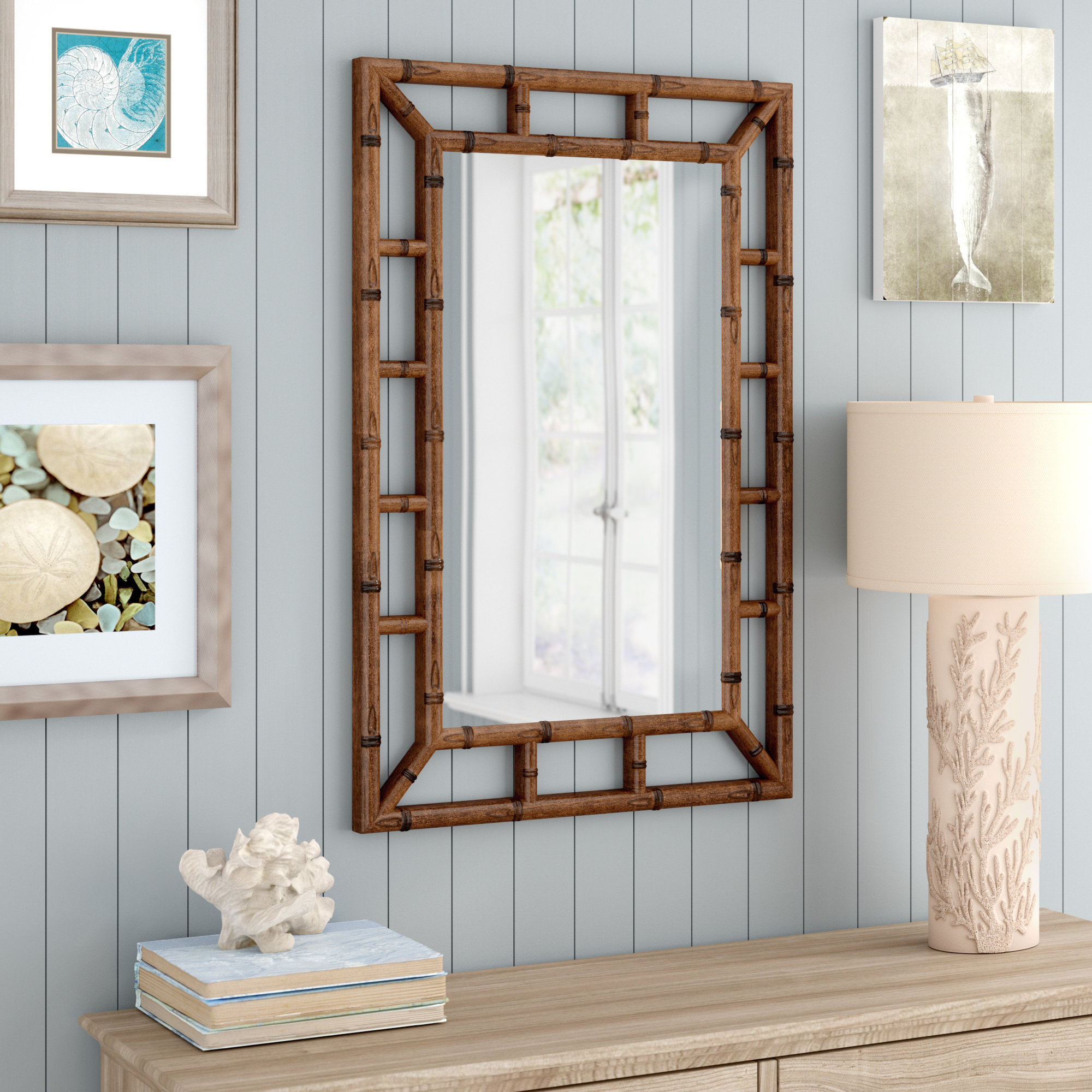 Cleta Bamboo Brown Traditional Beveled Wall Mirror Within Traditional Beveled Wall Mirrors (View 2 of 20)