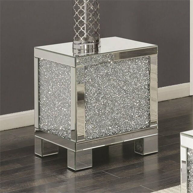 """Coaster 20"""" Square Mirrored Accent End Table In Silver With Regard To Silver Orchid Olivia Mirrored Coffee Cocktail Tables (Image 1 of 25)"""