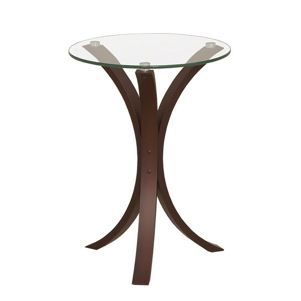 Coaster Company Cappuccino Colored Wood And Tempered Glass Snack/end Table With Porch & Den Shilshole Tempered Glass Bentwood Accent Tables (View 3 of 47)