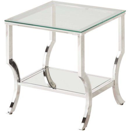 Coaster Company End Table, Chrome And Tempered Glass, Silver Inside Coaster Company Silver Glass Coffee Tables (Image 9 of 25)