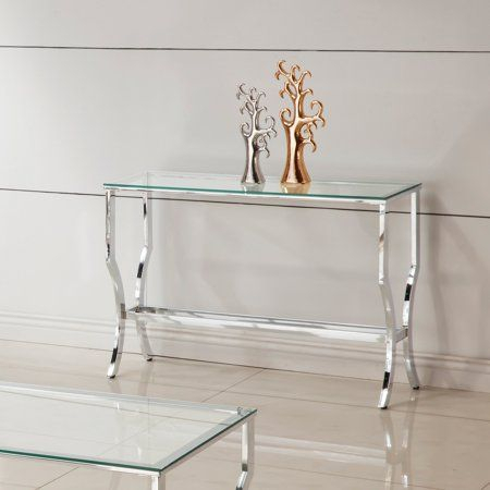 Coaster Company Sofa Table, Chrome And Tempered Glass In Strick & Bolton Jules Chrome And Glass Coffee Tables (View 18 of 25)