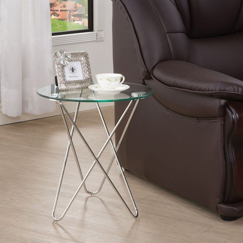 Coaster Furniture Silver Glass Top End Table | Products For Coaster Company Silver Glass Coffee Tables (Image 14 of 25)