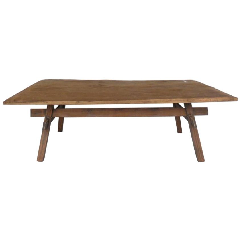 Coffee Table Design: Rustic Coffee Table With Straight Legs Intended For Carbon Loft Fischer Brown Solid Birch And Iron Rustic Coffee Tables (View 20 of 25)