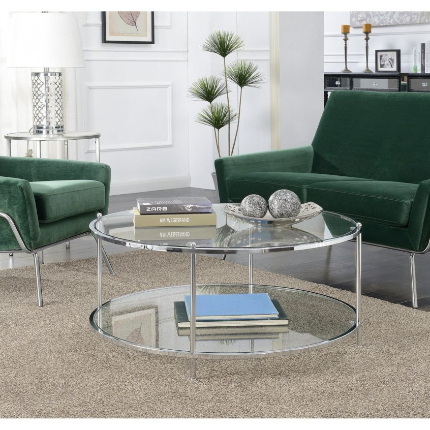 Coffee Table Design: Shop Silver Orchid Farrar Glass Tier Inside Silver Orchid Olivia Chrome Mirrored Coffee Cocktail Tables (View 14 of 25)