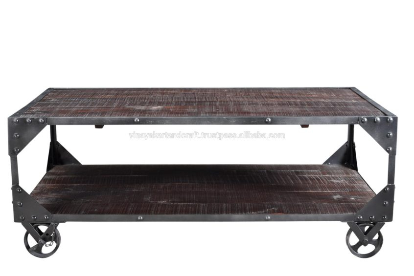 Coffee Table Design: Vintage Industrial Coffee Table On With Regard To Montgomery Industrial Reclaimed Wood Coffee Tables With Casters (View 7 of 50)