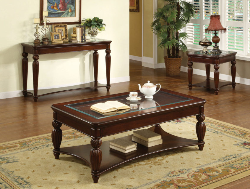 Coffee Table Design: Windsor Dark Cherry Solid Wood Pc Table Within Furniture Of America Crescent Dark Cherry Glass Top Oval Coffee Tables (Image 2 of 50)
