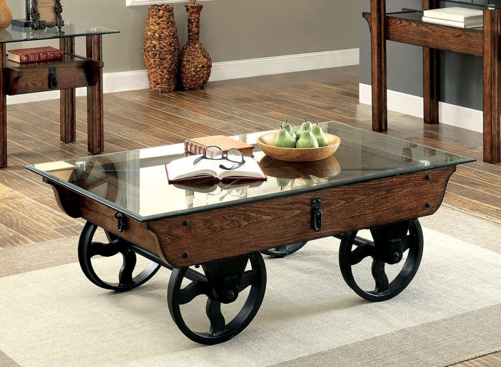 Coffetable ~ Uncategorized Weathered Coffee Table Photo Pertaining To Furniture Of America Charlotte Weathered Oak Glass Top Coffee Tables (Image 7 of 50)