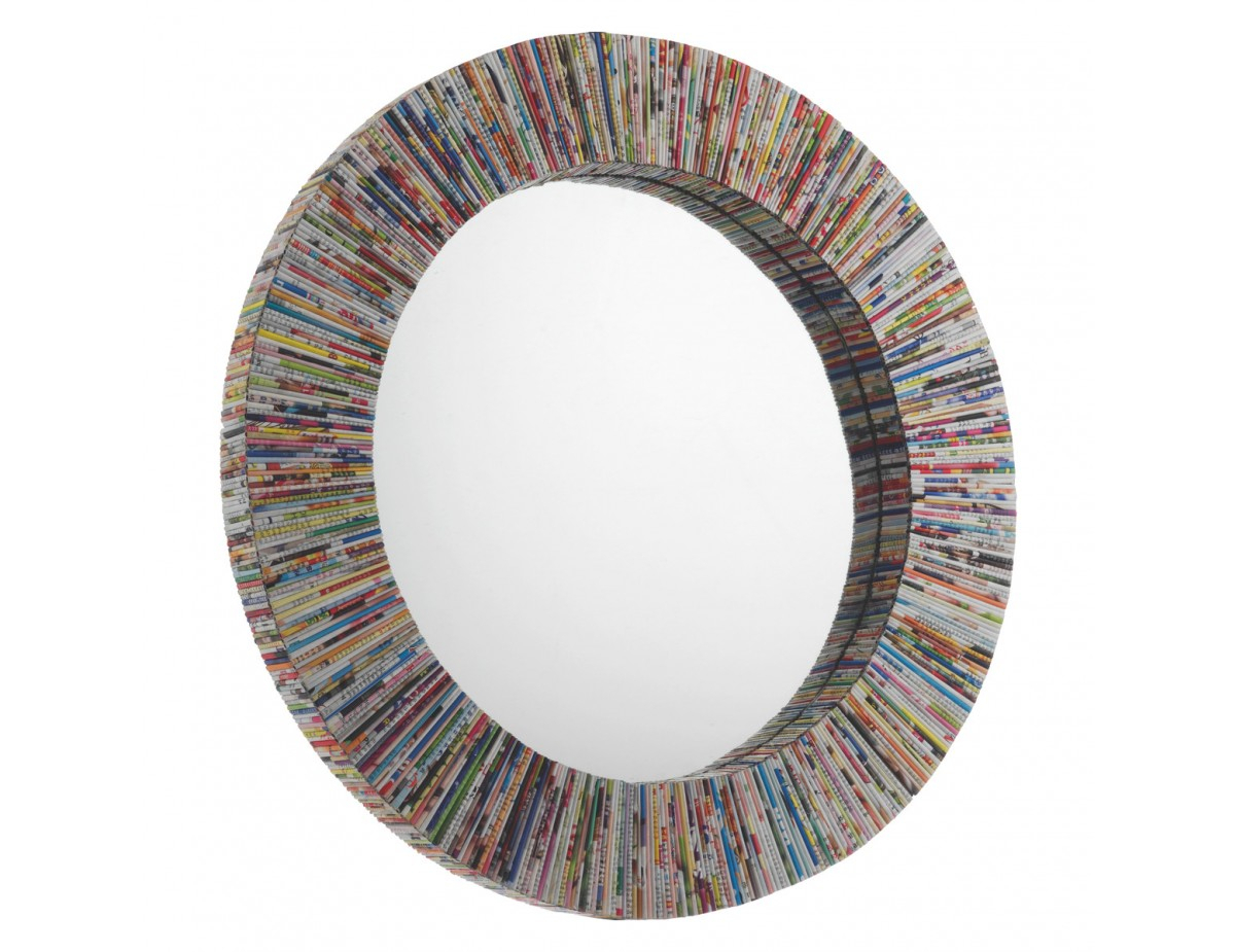 Cohen Multi Coloured Recycled Magazine Round Wall Mirror Intended For Round Eclectic Accent Mirrors (Image 3 of 20)