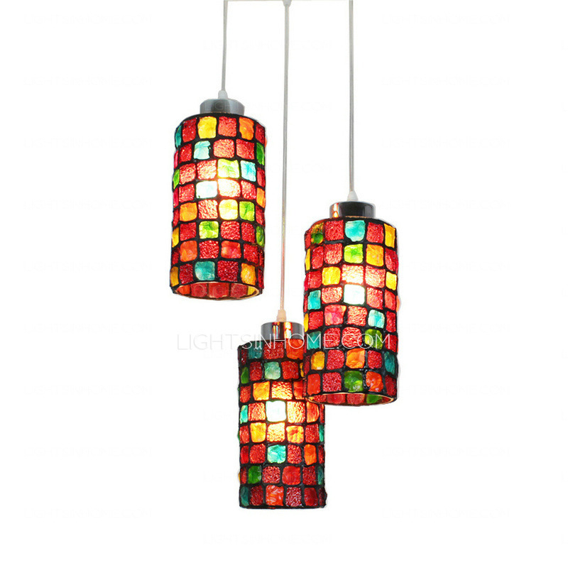 Colorful Stained Glass 3 Light Indie Style Multi Light Pendant Within 3 Light Lantern Cylinder Pendants (View 20 of 20)