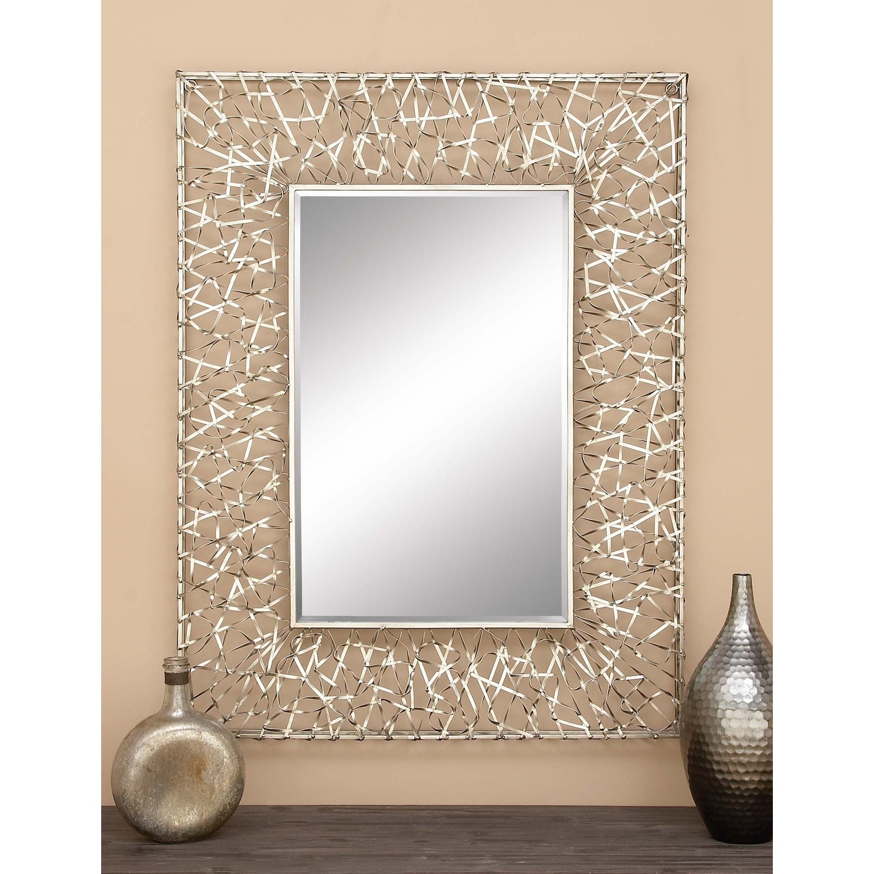 Contemporary 42 Inch Abstract Ribbon Framed Wall Mirrorstudio 350 –  Silver Intended For Rectangle Pewter Beveled Wall Mirrors (Image 7 of 20)