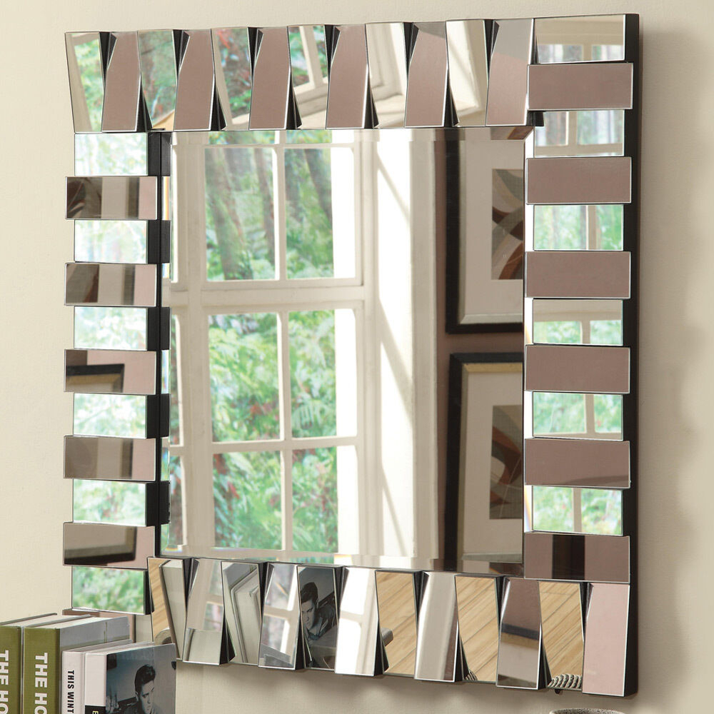 Contemporary Accent Wildon Home Wall Decor Mirror Square Silver Layered  Panels For Egor Accent Mirrors (Image 3 of 20)