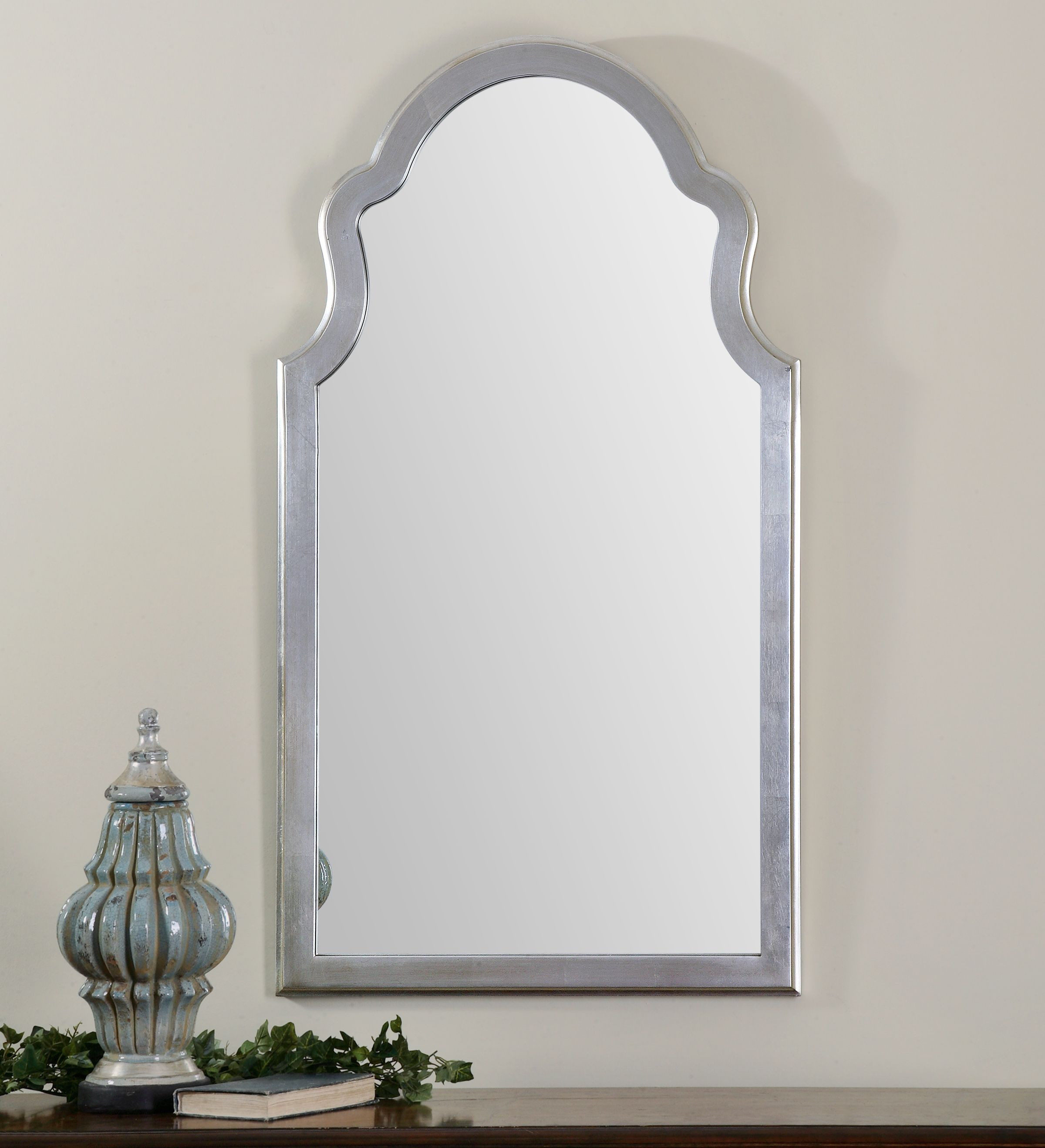 Contemporary Arched Mirror To Sit Over The Leather Chest In For Fifi Contemporary Arch Wall Mirrors (View 12 of 20)