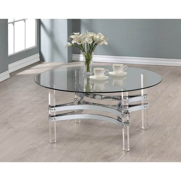 Contemporary Chrome Round Coffee Table Regarding Elowen Round Glass Coffee Tables (View 10 of 25)