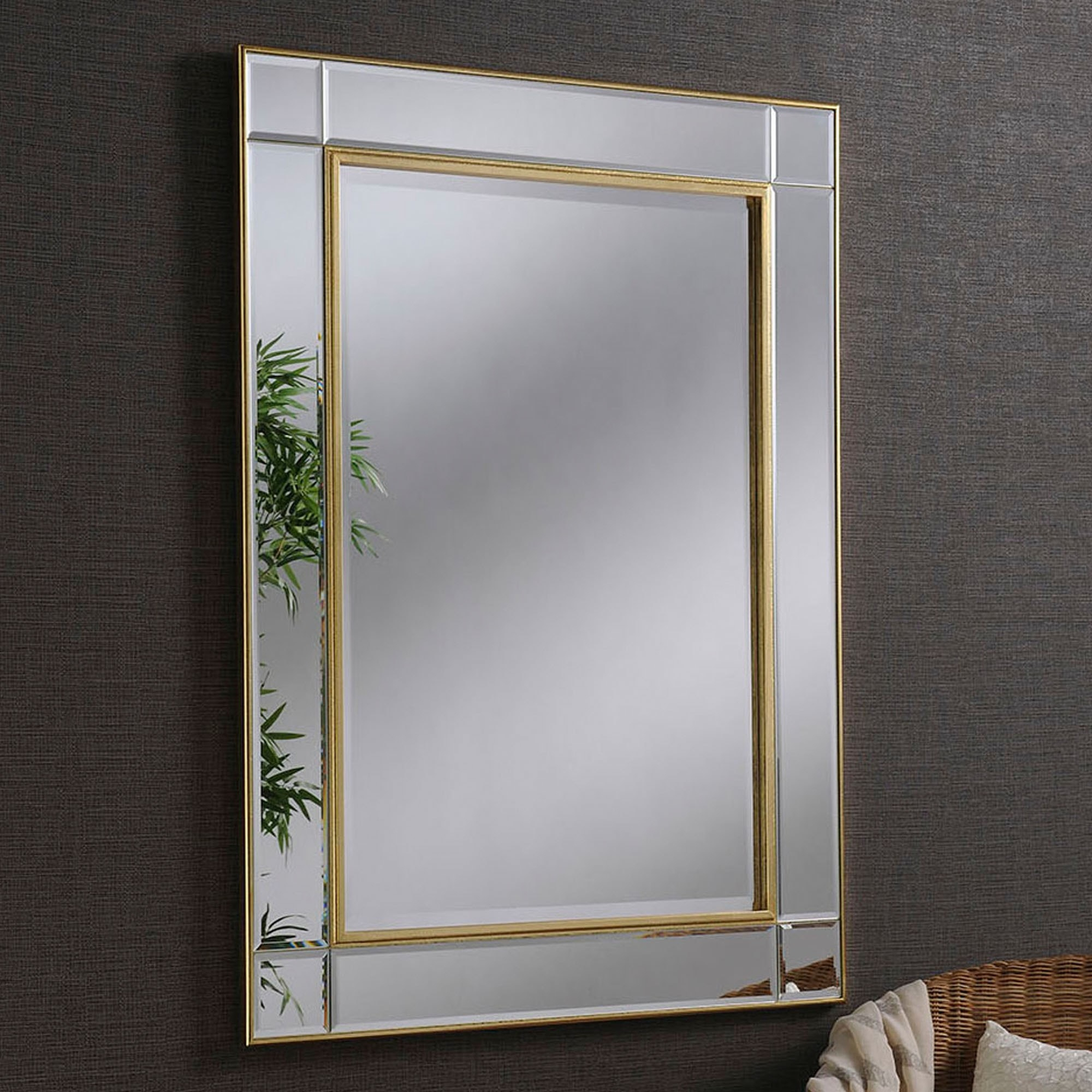 Contemporary Gold Beveled Wall Mirror Pertaining To Modern & Contemporary Beveled Wall Mirrors (View 6 of 20)