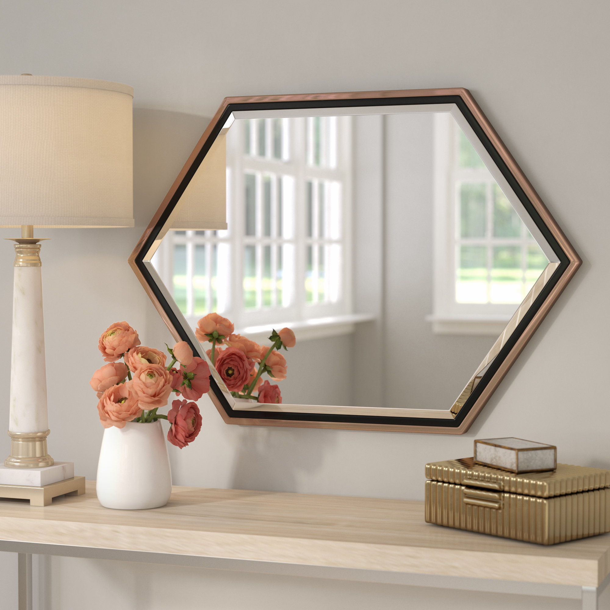 Contemporary Metal Frame Accent Wall Mirror Pertaining To Accent Wall Mirrors (Image 7 of 20)