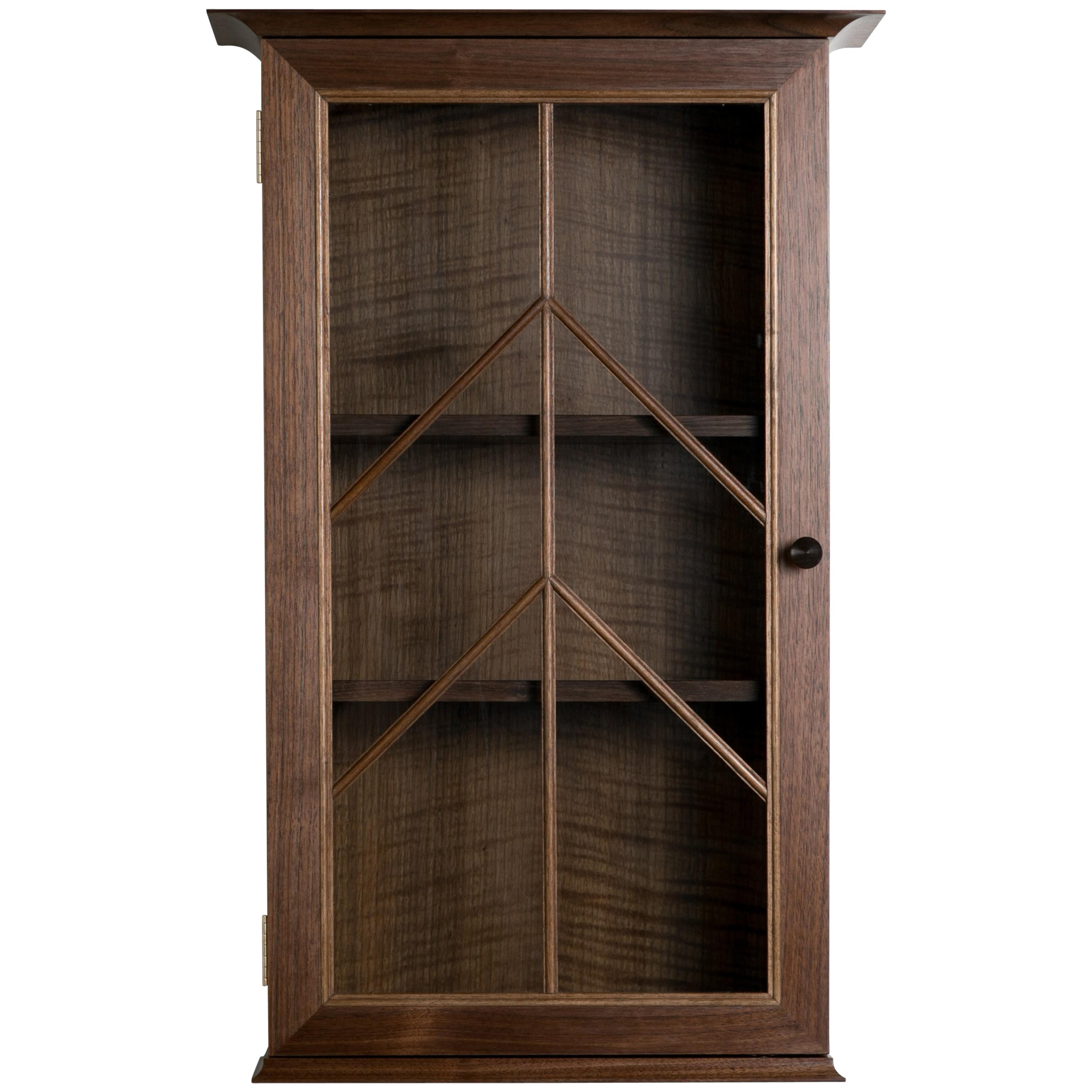Contemporary North End Wall Cabinet In Walnut, Curly Oak With Barred Glass Door Pertaining To Northend Wall Mirrors (View 13 of 20)